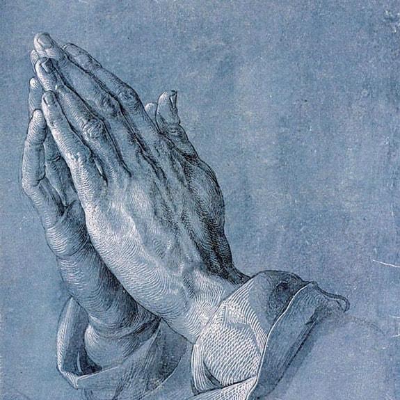 Ein Gemälde betender Hände. Unterstütze uns im Gebet. Stoffwechsel